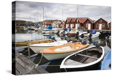 Sweden, BohuslŠn, Fishing Settlement RšnnŠng, Harbour, Boats, Houses-Frank Lukasseck-Stretched Canvas Print