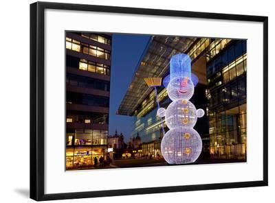 Germany, Berlin, Kudamm, Neues Kranzlereck, Christmas Decoration, Snowman, Evening-Catharina Lux-Framed Photographic Print
