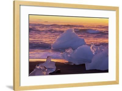 Icebergs in the Waves Next to Glacial River Lagoon Jškuls‡rlon (Lake), East Iceland, Iceland-Rainer Mirau-Framed Photographic Print