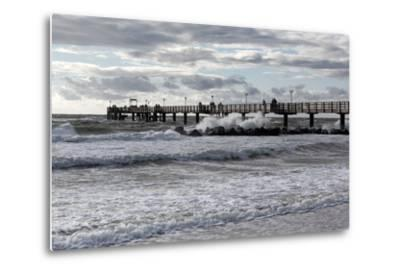 Baltic Sea Spa Wustrow, Pier in a Storm-Catharina Lux-Metal Print