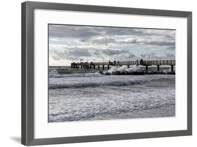 Baltic Sea Spa Wustrow, Pier in a Storm-Catharina Lux-Framed Photographic Print