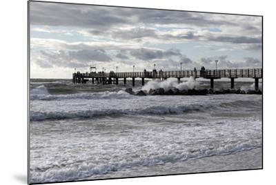 Baltic Sea Spa Wustrow, Pier in a Storm-Catharina Lux-Mounted Photographic Print
