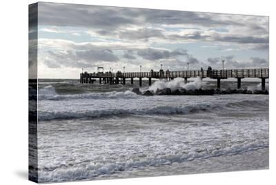 Baltic Sea Spa Wustrow, Pier in a Storm-Catharina Lux-Stretched Canvas Print