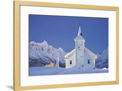 Church in Sildpollneset (Peninsula), Vestpollen, Austnesfjorden, Austvagoya (Island), Lofoten-Rainer Mirau-Framed Photographic Print