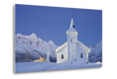 Church in Sildpollneset (Peninsula), Vestpollen, Austnesfjorden, Austvagoya (Island), Lofoten-Rainer Mirau-Metal Print