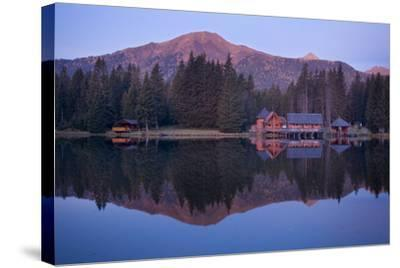 Austria, Styria, Rottenmanner Tauern, Lake, Shore, Framehouses, Mountain Scenery, Panorama-Rainer Mirau-Stretched Canvas Print