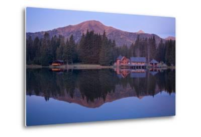 Austria, Styria, Rottenmanner Tauern, Lake, Shore, Framehouses, Mountain Scenery, Panorama-Rainer Mirau-Metal Print