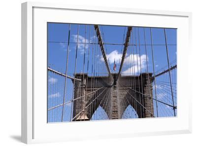 USA, New York City, Manhattan, Brooklyn Bridge, Bridge Pillar, Steel Ropes-Catharina Lux-Framed Photographic Print