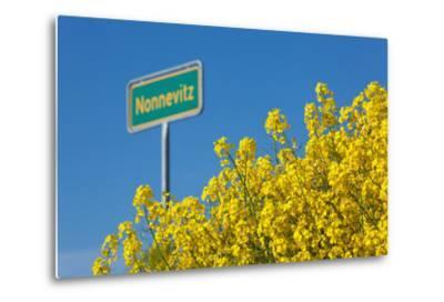 RŸgen, Rape in Front of Blue Sky, Town Sign Nonnevitz-Catharina Lux-Metal Print