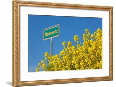 RŸgen, Rape in Front of Blue Sky, Town Sign Nonnevitz-Catharina Lux-Framed Photographic Print