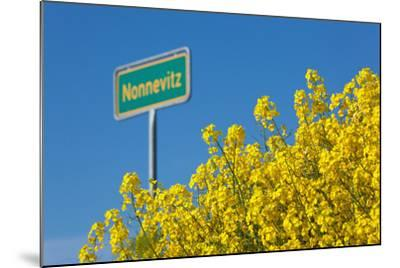 RŸgen, Rape in Front of Blue Sky, Town Sign Nonnevitz-Catharina Lux-Mounted Photographic Print