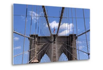 USA, New York City, Manhattan, Brooklyn Bridge, Bridge Pillar, Steel Ropes-Catharina Lux-Metal Print