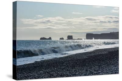 At the Black Sandy Beach of Reynisfjara-Catharina Lux-Stretched Canvas Print