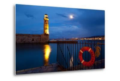 Greece, Crete, Rethimnon, Venetian Harbour, Illuminated, in the Evening-Catharina Lux-Metal Print