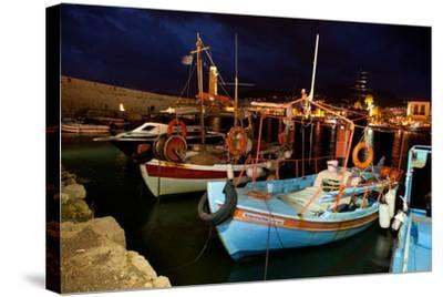 Greece, Crete, Rethimnon, Venetian Harbour, Fishing Boats, Evening-Catharina Lux-Stretched Canvas Print
