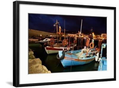Greece, Crete, Rethimnon, Venetian Harbour, Fishing Boats, Evening-Catharina Lux-Framed Photographic Print