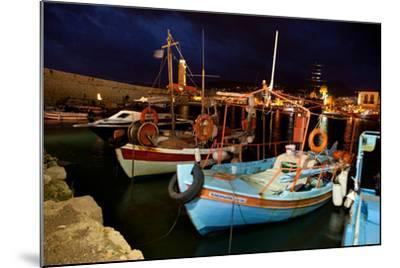 Greece, Crete, Rethimnon, Venetian Harbour, Fishing Boats, Evening-Catharina Lux-Mounted Photographic Print