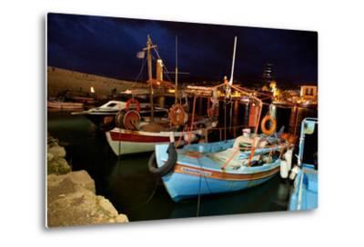 Greece, Crete, Rethimnon, Venetian Harbour, Fishing Boats, Evening-Catharina Lux-Metal Print