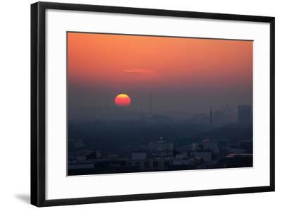 Berlin, Sunset, Silhouettes-Catharina Lux-Framed Photographic Print