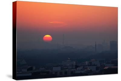 Berlin, Sunset, Silhouettes-Catharina Lux-Stretched Canvas Print