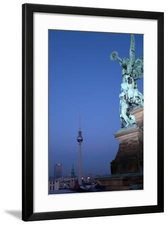 Berlin, Cathedral, Distant View, Television Tower, Evening-Catharina Lux-Framed Photographic Print