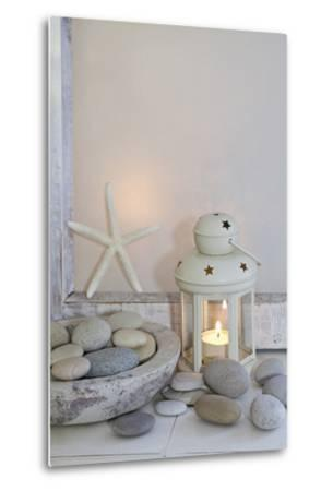 Decoration, White, Window Frames, Lantern, Candle, Bowl, Stones, Starfish-Andrea Haase-Metal Print