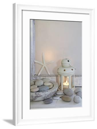 Decoration, White, Window Frames, Lantern, Candle, Bowl, Stones, Starfish-Andrea Haase-Framed Photographic Print