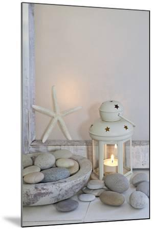Decoration, White, Window Frames, Lantern, Candle, Bowl, Stones, Starfish-Andrea Haase-Mounted Photographic Print