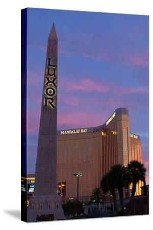 USA, Las Vegas, Hotel Mandala Bay and Luxor, Evening Light-Catharina Lux-Stretched Canvas Print