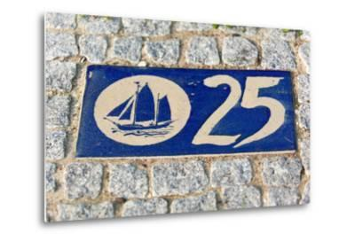 Baltic Sea Spa Wustrow, Paving Stones, Tile, House Number, Sailboat-Catharina Lux-Metal Print