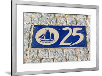 Baltic Sea Spa Wustrow, Paving Stones, Tile, House Number, Sailboat-Catharina Lux-Framed Photographic Print