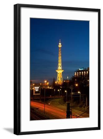 Berlin, Radio Tower, City Highway, Night-Catharina Lux-Framed Photographic Print