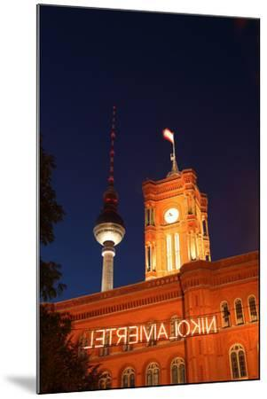 Berlin, Nikolaiviertel, Television Tower, Rotes Rathaus (Red City Hall), Night-Catharina Lux-Mounted Photographic Print