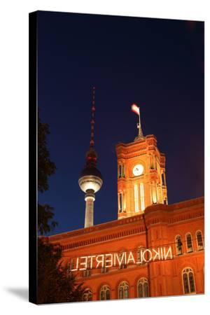 Berlin, Nikolaiviertel, Television Tower, Rotes Rathaus (Red City Hall), Night-Catharina Lux-Stretched Canvas Print