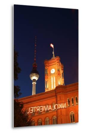 Berlin, Nikolaiviertel, Television Tower, Rotes Rathaus (Red City Hall), Night-Catharina Lux-Metal Print