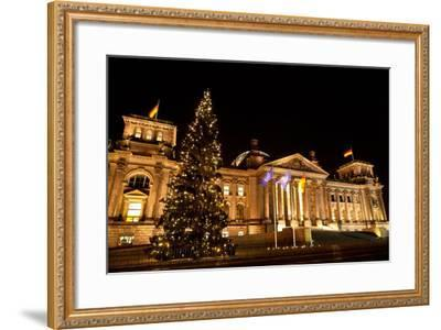 Germany, Berlin, Reichstag, Christmas Decoration, Night-Catharina Lux-Framed Photographic Print