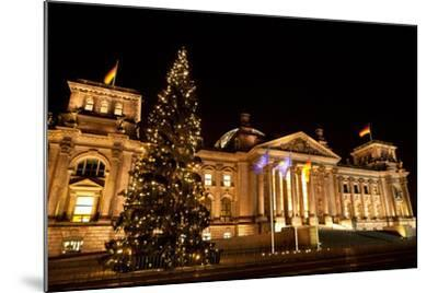 Germany, Berlin, Reichstag, Christmas Decoration, Night-Catharina Lux-Mounted Photographic Print