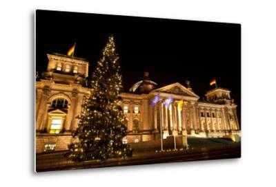 Germany, Berlin, Reichstag, Christmas Decoration, Night-Catharina Lux-Metal Print