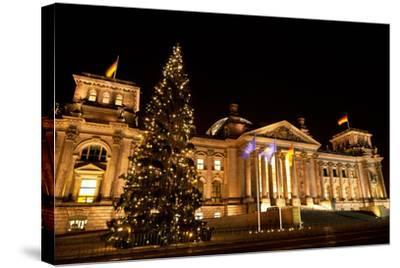 Germany, Berlin, Reichstag, Christmas Decoration, Night-Catharina Lux-Stretched Canvas Print