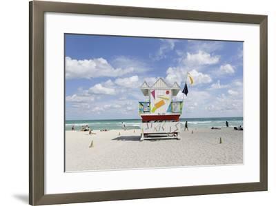 Beach Lifeguard Tower '6 St', Typical Art Deco Design, Miami South Beach-Axel Schmies-Framed Photographic Print