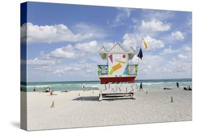 Beach Lifeguard Tower '6 St', Typical Art Deco Design, Miami South Beach-Axel Schmies-Stretched Canvas Print