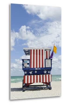 Beach Lifeguard Tower '13 St', with Paint in Style of the Us Flag, Miami South Beach-Axel Schmies-Metal Print
