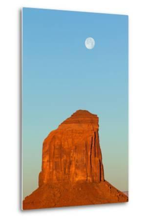 USA, Monument Valley, Rock and Full Moon-Catharina Lux-Metal Print