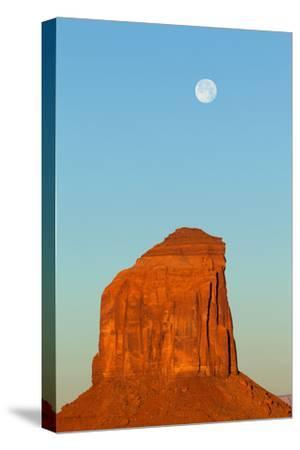 USA, Monument Valley, Rock and Full Moon-Catharina Lux-Stretched Canvas Print