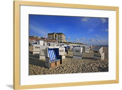 Beach Chairs on the Beach in Front of the 'Hotel Miramar' in Westerland on the Island of Sylt-Uwe Steffens-Framed Photographic Print