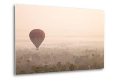 Aerial View of Ancient Temples of Bagan at Sunrise with Balloon in Myanmar-Harry Marx-Metal Print