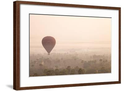 Aerial View of Ancient Temples of Bagan at Sunrise with Balloon in Myanmar-Harry Marx-Framed Photographic Print