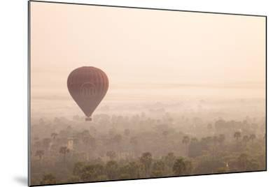 Aerial View of Ancient Temples of Bagan at Sunrise with Balloon in Myanmar-Harry Marx-Mounted Photographic Print