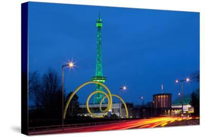 Berlin, Radio Tower, Looping Sculpture, Night-Catharina Lux-Stretched Canvas Print