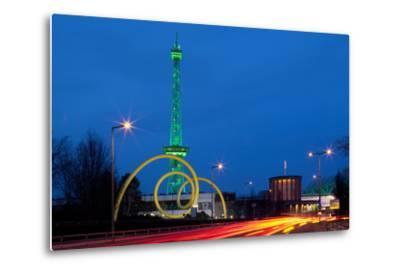 Berlin, Radio Tower, Looping Sculpture, Night-Catharina Lux-Metal Print